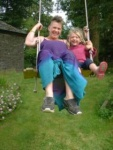 A community in South Wales  Kerris came with me on a visit to friends who live there Here with Charis on the swing