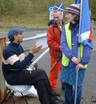 this young man was sat on the roundabout at Faslane, patiently knitting and as a result people kept going over and chatting with him, somehow he (or his knitting) were magnetic