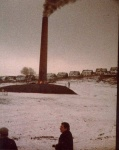 Demolition of a chimney in Oswaldtwistle, Lancs - carried out by Fred Dibnah