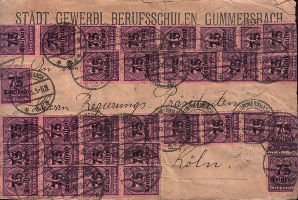 Letter posted in Germany during the collapse of the Reichmark Oct 1923