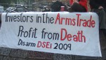 rather than just protest in Docklands, this year protests took place all over London targetting the arms dealers, the arms companies, the investors, the financiers and the Government