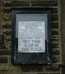 enigmatic notice outside a chapel in Trawden