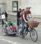some tiny tots, wrapped up warm, came along too, in this excellent looking bike trailer