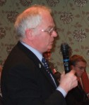 Lancashire County Councillor Bill Bennett putting a question