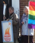 George & Patricia with a visible flame - often on some days we didn't have it alight all the time because of the wind