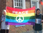 Patricia & Chris with a peace flag which unlike mine also has the CND symbol