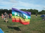 peter's peace flag outside his tent