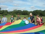 once again it was back to adam's farm in oxfordshire for the 2nd peace news summer camp.  here a parachute game to start the day off
