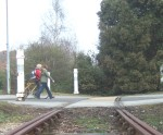 as can be seen in this photo the rails cross the road and then disappear into a hedge!