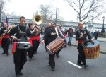 one of several bands on the march