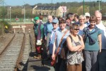 The day after the Convention , SELRAP organised two trackbed walks, one from Colne, one from Thornton-in-Craven and both heading for Café Cargo at Foulridge Wharf. Here walkers gathered on Colne Station, the end of the current line, ready to set off