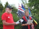 Peter Kenyon and Joan West of East Lancs CND reading the Peoples Declaration of Independence FROM America