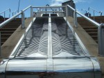 now we see the steel as an artwork between two flights of steps