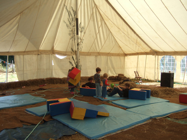 as we already had a few kids on site, we established a temporary kids' space in the main marquee