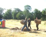 shifting straw bales for seating