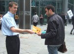 Ian handing out leaflets