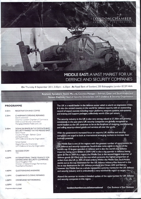 the actual leaflet for the seminar entitled 'Middle East: A Vast Market for UK Defence and Security Companies' hosted by the London Chamber of Commerce and Industry at the RBS