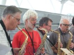 Once again back in Docklands to protest at the bi-annual Arms Fair held at the Excel Centre Here some of the saxophonists at the Saturday Musical Protest