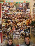a photoboard with pictures of all the many local residents who use the cafe all year round