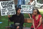 two demonstrators from Faslane Peace Camp, very aware of the connection between nuclear power and nuclear weapons