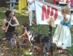 a flute player with her children and dogs also came along