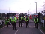 two lines of police were guarding the gates