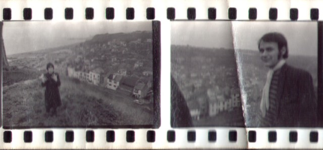 contact print chris, phil with hastings old town in the background