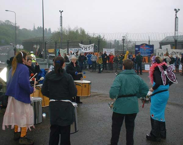 Band to ward off the cold - I noticed evebn some of the police moving to the rhythm!
