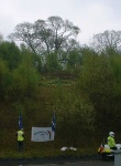 This is a beautiful touch, a CND peace symbol formed by daffodils, overlooking the base and the North Gate.