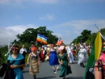 colourful costumes, colourful flags