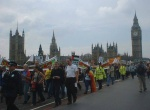 the march crosses Westminster Bridge