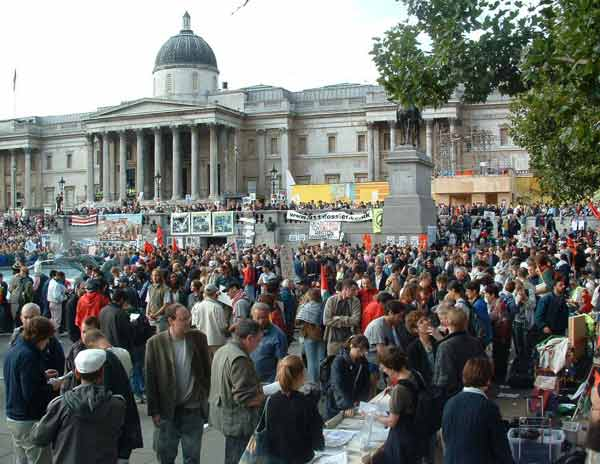 just a small section of the huge crowd in Trafalgar Square