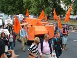the globalise resistance orange tank that was at the arms fair earlier in the month (see DSEi in Gallery)