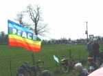 peace flag at Burghfield - down the road in the background is where they make Britain's nuclear weapons