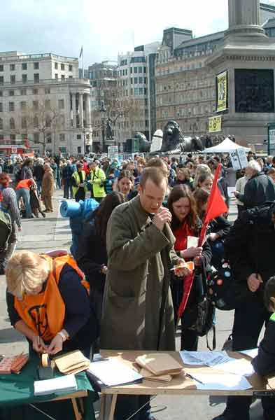 Good Friday, the long queue in Trafalgar Square to register for the march