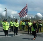 A view of the base we were protesting about guarded by some unhappy looking police