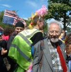 I'm afraid I don't know this gentleman's name but before the march set off, he gave a splendid rendition of the protest song about the Mass tresspass on Kinder Scout in the 1930's, 'The Manchester Rambler'