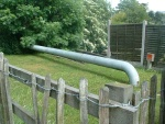 81. a gas pipe over the bridge across the farm access road to the A56 just south of Salterforth Road