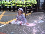 oy, no chalking 'ere! my grandaughter Charis bringing some colour to the grey of Faslane
