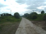 10. looking west on the farm road. The track to the left goes to the farm, the track to the right goes to a house (for photos of these see on)