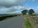 the country road on the flat plateau near Trawden recreation ground