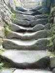 well-worn steps in the ruins of Wycollar Hall