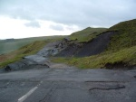 looking up at the bumpy ride - the only way west for cars out of the Derwent valley is via the original route, the minor road up through the Winnats Pass, very impressive but busy with traffic