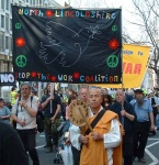 The North Lincolnshire Stop the War group banner featurig the dove of peace
