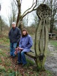 friends Jan & John on a bench on the Cuckoo Trail cyclepath between Heathfield and Polegate in Sussex