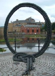 this rope acts as a frame - by the ornamental canal in Wapping, London