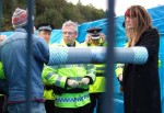 the police had a new tactic of surrounding those locked-on with screens so that you couldn't see them cutting the protesters apart. To see how they do that you need to look at my Faslane 2004 album. It's hard to get photos of that now unless you're very tall!