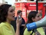 Anna and Beccie from the Campaign Against the Arms Trade (CAAT), the main organisers of the day