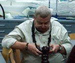 Mike looking at his results - one of the benefits of digital cameras