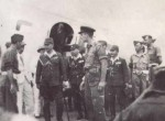 Japanese envoys arriving at Mingaladon airfield, Rangoon, to sign surrender terms